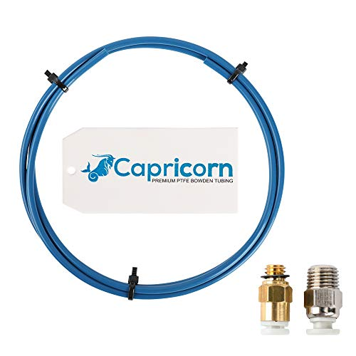 Genuine Capricorn Bowden PTFE Tubing XS Series 1.2 M with 1 piece PC4-M6 Quick Fitting and 1 piece PC4-M10 Straight Pneumatic Fitting Push to Connect for 3D Printer