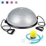 Sfeomi Pelota de Equilibrio 58CM Bola de Yoga con Capacidad de 150kg Balón de Pilates con Bandas de Resistencia y Bomba Manual para Fitness Ejercicio Yoga (Gris)