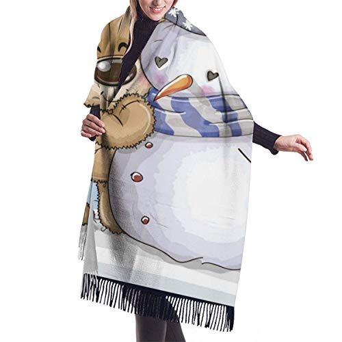 Bufanda grande Oso de peluche de dibujos animados y un chal de muñeco de nieve Abrigo Bufanda cálida de invierno Capa Bufandas de gran tamaño Viajes