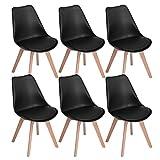 EGGREE 6er Set Esszimmerstühle mit Massivholz Buche Bein, Retro Design Gepolsterter Stuhl...