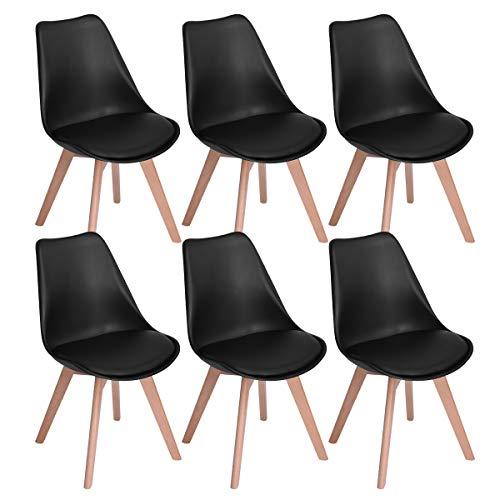 EGGREE 6er Set Esszimmerstühle mit Massivholz Buche Bein, Retro Design Gepolsterter Stuhl Küchenstuhl Holz, Schwarz