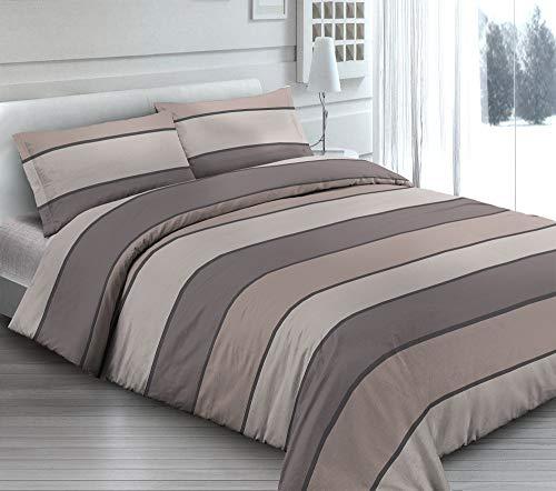 Funda nórdica de 3 tamaños de puro algodón, fabricada en Italia, diseño de rayas a rayas, una plaza y media, color pardo