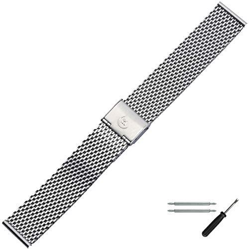 MARBURGER Uhrenarmband 20mm Edelstahl Silber - Werkzeug Montage Set 84907200020