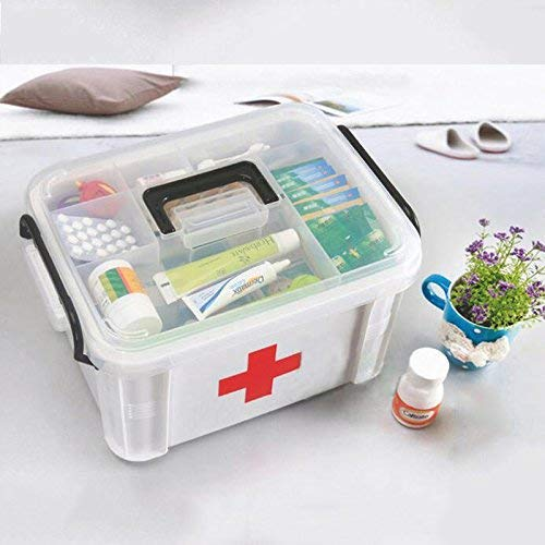 Caja de medicina familiar grande de plástico de múltiples capas de primeros auxilios caja de salud caja de almacenamiento de medicina caja médica casera 33x24x19cm pecho de medicina ZHNGHENG