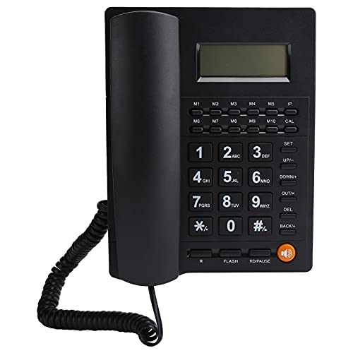 Teléfono fijo de escritorio con botones grandes, teléfono con cable de reducción...