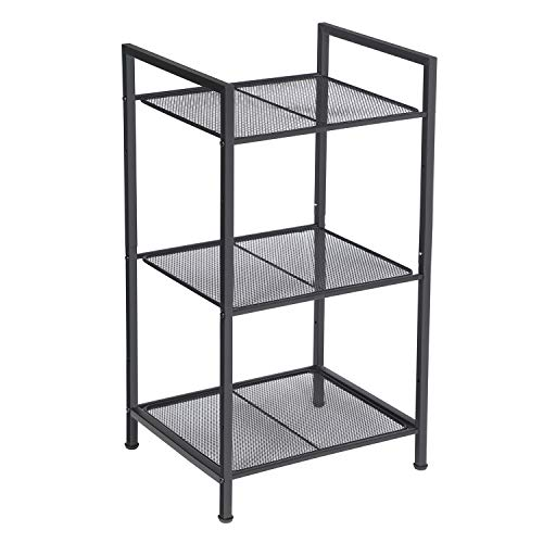 SONGMICS Bathroom Shelf, 3-Tier Storage Rack, Industrial Style Extendable Plant Stand with Adjustable Shelf, for Bathroom, Living Room, Balcony, Kitchen, Black UBSC33BK