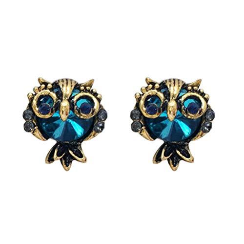 Eule Blau Kristall Mode Ohrringe Ohrringe Netz Rot Temperament Persönlichkeit Wilde Ohrringe
