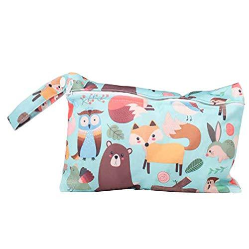 JUNGEN Bolsa de pañales reutilizable para bebé Pequeña bolsa de pañales impermeable con Estampado animal Bolsa de pañales de tela portátil con Cremallera Organizador de pañales (Zoo)