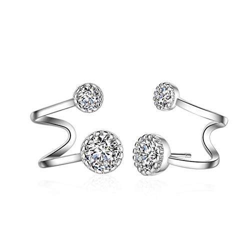 QYTSTORE Fashionable And Simple Earrings In Sterling Silver, Size: 2 Cm, Sterling Silver Jewelry For Women Beautiful and stylish