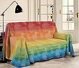 HomeLife - Überwurf für Sofa, bunt gemustert, Regenbogen-Druck, 180 x 290 cm, hergestellt in Italien, Mehrzweck-Überwurf aus Baumwolle – Granfoulard Sommer-Tagesdecke für Einzelbett – Regenbogenfarben