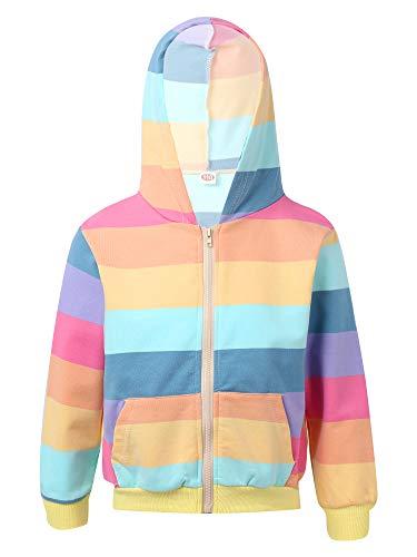 YOOJIA Kinder Mädchen Frühlingsjacke Langarm Kapuzenpullover Hoodie Pullover mit Tasche Baumwoole Sweatjacke gr.98-152 Regenbogen 122-128