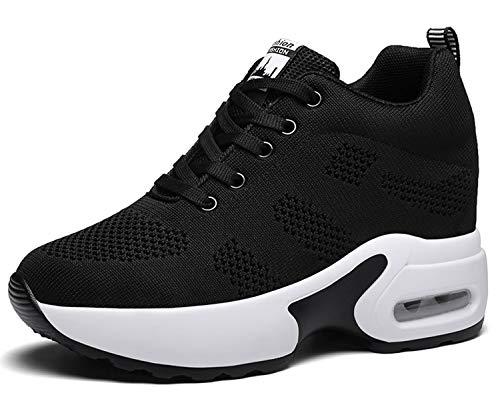 AONEGOLD Sneakers Mit Keilabsatz Damen Wedges Sportschuhe Turnschuhe Bequeme Atmungsaktiv Mesh Sport Laufschuhe Freizeitschuhe (Schwarz,37 EU)