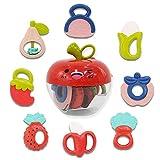 deAO Conjunto de Mordedores Sonajeros para Bebé con Diseño de Frutas y Verduras Juguete Sensorial para la Etapa de Dentición Incluye Caja de Almacenamiento