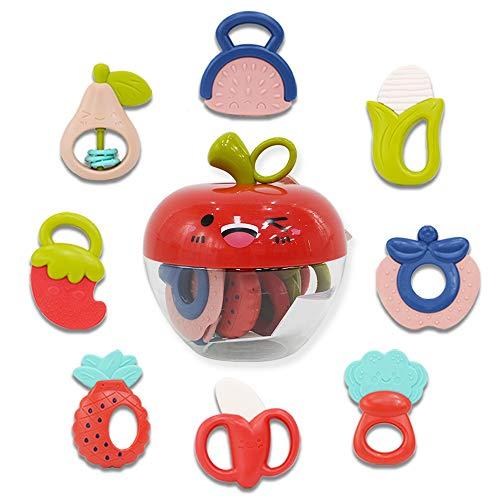 deAO Set di Massaggia Gengive Sonagli per Bambini con Design di Frutta e Verdura Giocattolo Sensoriale per la Fase Neonati di Dentizione Scatola di Immagazzinaggio Inclusa