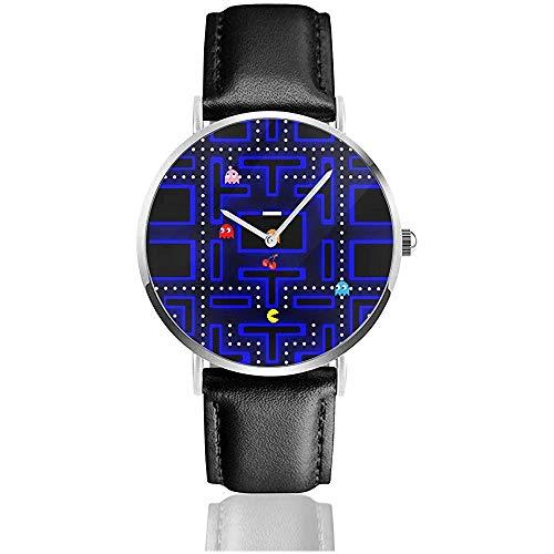 Relojes de Pulsera con Correa de Cuero Arcade Retro Reloj de Cuarzo Casual clásico de Acero Inoxidable