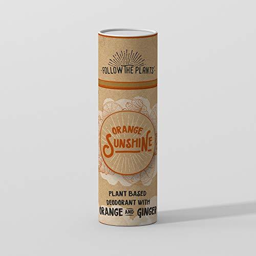 ORANGE SUNSHINE Desodorante Natural 60g | Suministro para 3 meses | A base de plantas, Naranja Dulce, Jengibre, Regaliz, Arruruz, Caolín y Arbol de té | Biodegradable - No mancha |