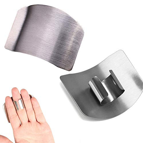 protezioni per dita in acciaio inox, protezione per il taglio, evitare di ferire quando affettare e tagliare a dadini, strumento per tagliare tagliare, sicuro da cucina … (2PCS)