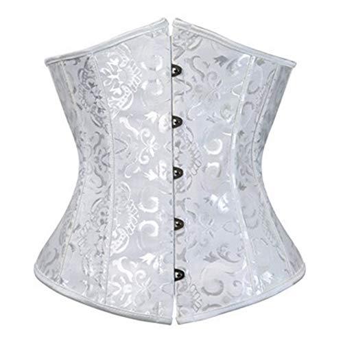ZWQASP Corset, Femmes Lacent Boned Jacquard Brocade Taille Seins Nus Corset Taille Formateur Corset Shaper for Perdre du Poids Plus Size (Color : White, Size : 5XL)