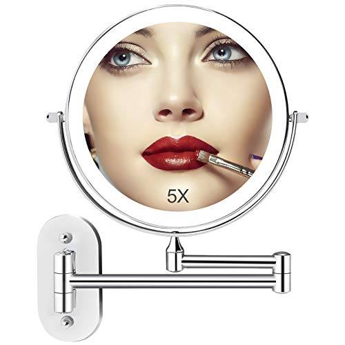 Wall Mounted Lighted Makeup Vanity Mirror with 3 Color Lights, 8 Inch Double Sides 1X/5X Magnifying Bathroom Makeup Mirror, Touch Screen Dimming, Double Power Supply, 360°Cosmetic Shaving Mirror