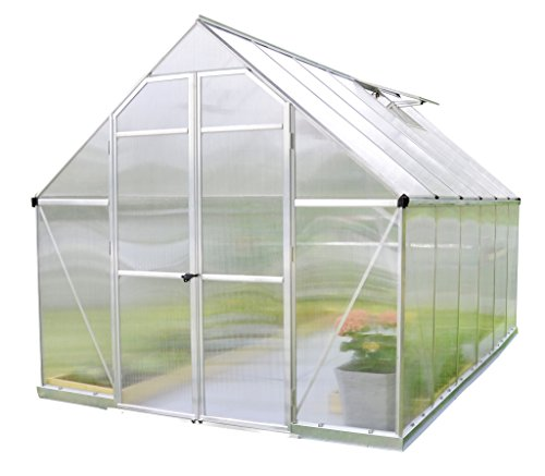 Palram 8 x 12ft Essence Silver Greenhouse with Polycarbonate Panels and Twinwall on Roof - Clear