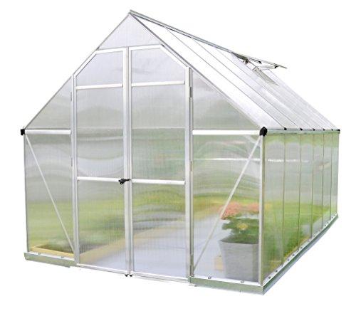 Palram Essence Serre de Jardin– Polycarbonate Protégé Contre Le Soleil et Cadre en Aluminium, Grandes Doubles Portes – Aire de Culture Généreuse