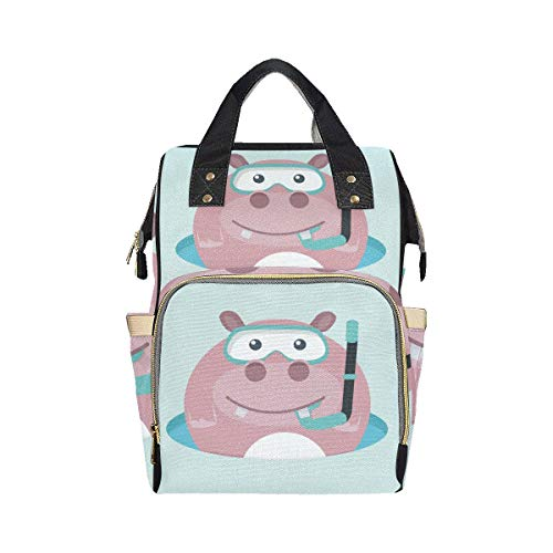 Big Swimming Hippo Lovely Animal Nappy Tote Diaper Bag Mom Dad Changing Large Capacity Multi-function Toddler Diaper Bag Backpack For Baby Girl Boy
