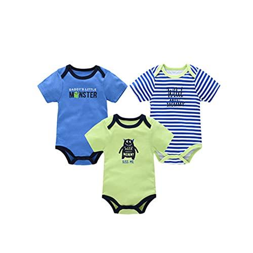 LOKKSI - Pack de 3 monos de bebé para bebé, ropa de bebé, 100% algodón, estampado de dibujos animados de manga corta de 0 a 12 meses