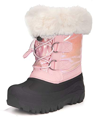 Outee Girls Snow Winter Boots for Kids Toddler Winter Warm Fur Lined Faux Glitter Pink Rubber Lightweight Rain Boots Waterproof Shoes Adjustable Elastic Cinch Faux Fur Design Closure (Size 12,Pink)