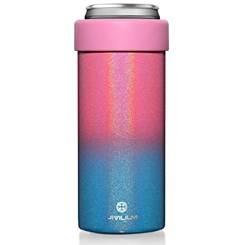 JIVILILM Vacuum Insulated Can Cooler for 12 OZ Slim Cans, Double walled Stainless Steel...