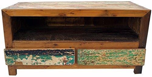 Guru-Shop Lowboard, TV-tafel, Platte Ladekast Vintage Look - Model 10, Bruin, 54x110x46 cm, Ladekasten Dressoirs