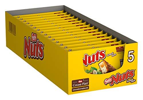 Nestlé NUTS, Haselnuss Schokoriegel mit Karamellfüllung, ganze Haselnüsse und leckere Candy Creme, ummantelt mit Milchschokolade, 16er Pack (à 5 x 30g)