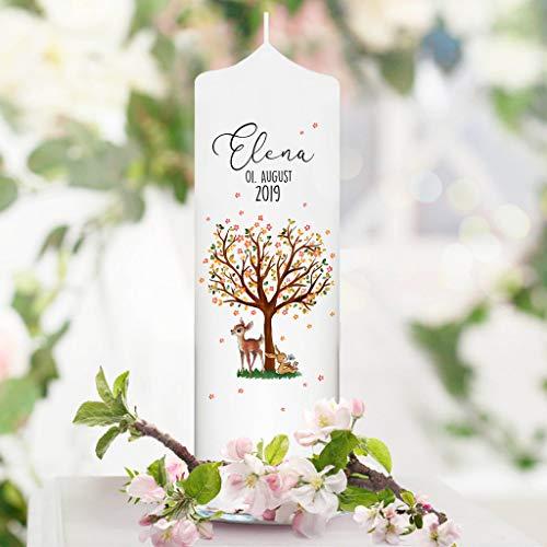 Wandtattoo Loft Taufkerze filigraner Baum mit Blüten, REH und Hase - Kerze zur Taufe, Geburt oder Kommunion – weiß 25 x 7 cm mit Name, Datum, ggf. Taufspruch / / Kerze 25x7 cm (ohne Taufspruch)