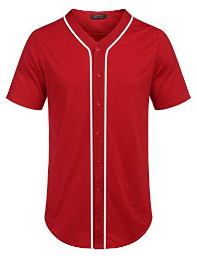 COOFANDY Camiseta de manga corta con botones de béisbol para hombre Hipster Hip Hop,  Rojo, X-Large