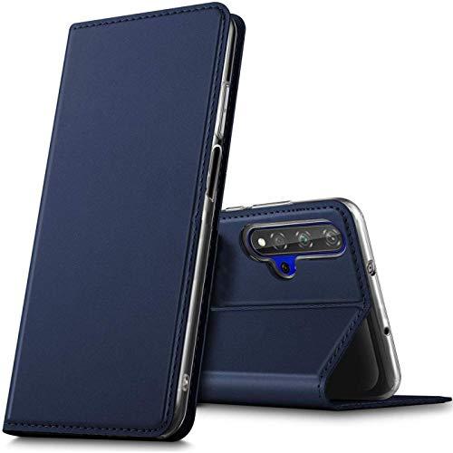 Verco Handyhülle für Huawei Nova 5T / Honor 20, Premium Handy Flip Cover für Huawei Nova 5T Hülle [integr. Magnet] Book Hülle PU Leder Tasche, Blau