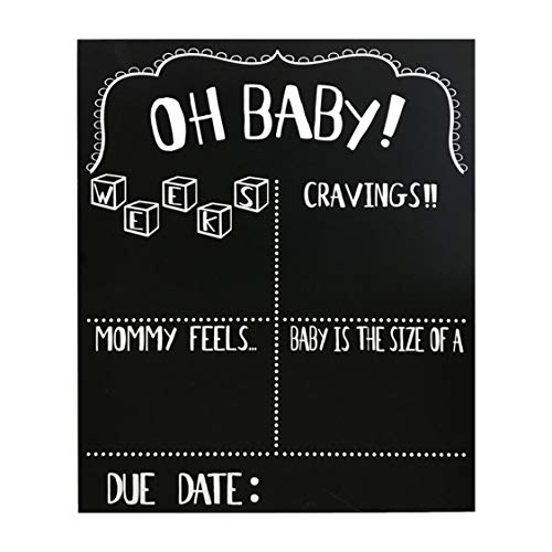 JennyGems Pregnancy Announcement Chalkboard and Photo Prop - Pregnancy Tracker Chalkboard - Extra Large Size 14 x 16 - Gender Reveal Monthly Milestones Countdown Week by Week Tracker Board
