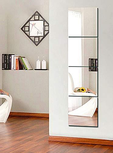 4 Láminas Espejo Reflejo Adhesivo Pared- Pegatina Espejo Vinilo Cuadrado Auto-Adhesivo Decorativo Pared para salón baño habitación Superficies Lisas y Libres de Polvo (25 X 25cm)