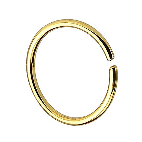 Taffstyle Piercing Continuous Ring 925 Silber Fake Klemmring Dünn Septum Tragus Helix Nase Lippe Ohr Nasenring Hoop Clip On Gold 1,0mm x 6mm