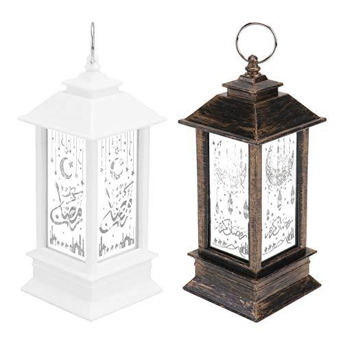 YARNOW 2Pcs Vintage Laterne Eid Ramadan LED Lampe Retro Wind Freien Hängende Laterne Dekorative Lichter für Festival Eid Mubarak Dekoration