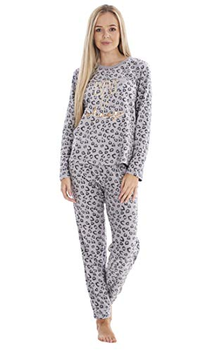 "ChicWhisper Damen Pyjama mit Schriftzug ""Love to Sleep"" - Warmer Fleece-Pyjama..."