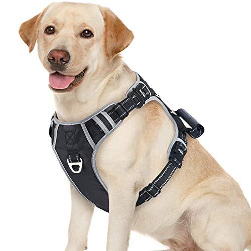 Idepet Hundegeschirr mit Griff, verstellbar, reflektierend, für kleine, mittelgroße und große Hunde, Schwarz