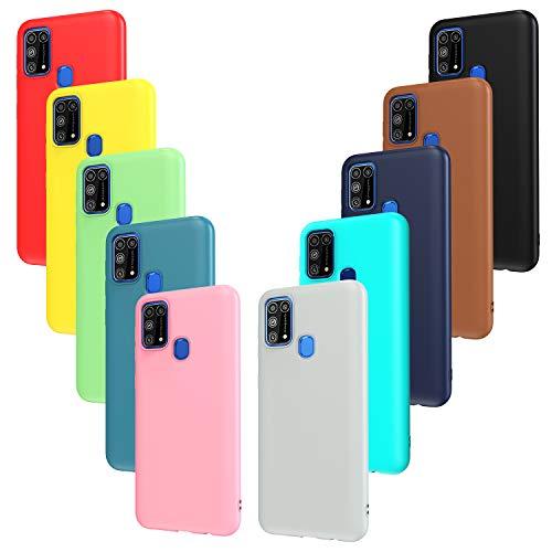 iVoler 10x Custodia Cover per Samsung Galaxy M31, Ultra Sottile Morbido TPU Silicone Antiurto Protettiva Case (Nero, Grigio, Blu Scuro, Blu Cielo, Blu, Verde, Rosa, Rosso, Giallo, Marrone)