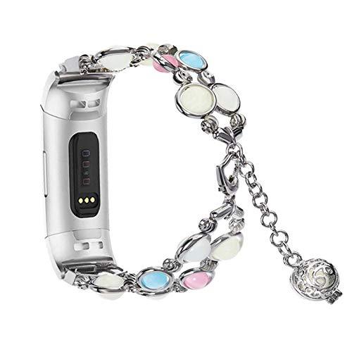 XIALEY Pulsera Compatible con Fitbit Charge 3/4, Bandas Hecha A Mano Noche Luminoso Correas De Reemplazo De Pulseras Brazalete para Charge 3/Charge 4,Plata