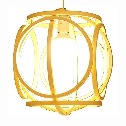 WANGYAN Lámpara De Techo Empotrada Hecha A Mano con Iluminación De Estilo Chino Colgante Vintage Tejido A Mano 1 Lámpara De Mesa De Comedor De Araña De Tejido De Bambú, Comedor -13,7 Pulgadas