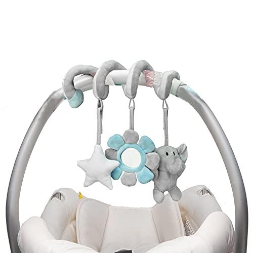 Eeneme Juguetes Colgantes Espiral de Animales,Cochecito de Bebé con Sonajeros en Espiral, Infantil Juguete Colgando en la Cuna con Peluches Espirales para Cochecito Carrito Niños Niñas