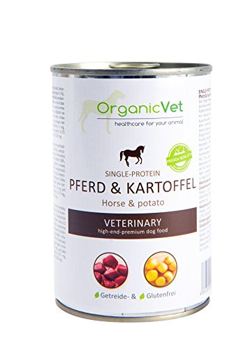ORGANICVET Hund Nassfutter Veterinary Single-Protein Pferd und Kartoffel, 6er Pack (6 x 400 g)