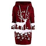 Photo de Tosonse Robes De Noël Laides pour Les Femmes Mini-Robe À Capuche Imprimée À Manches Longues Et À Rennes