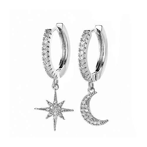 zaizai Pendientes De Aro De Estrella Y Luna De Circonita Cúbica Brillante De Moda para Mujeres Y Niñas Joyería (Color : Silver)