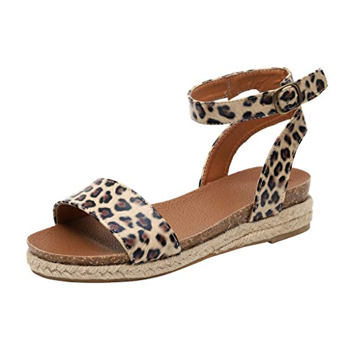 Frauen Sommer Sandalen Wedges Leopard Casual Schuhe Strap Gladiator Roman Sandalen Schnalle Keile Leopard Retro Peep Toe Sandalen