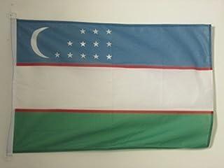 UZBEKISTAN FLAG 2 英尺 x 3 英尺户外 - UZBEK FLAGS 90 x 60 厘米 - 竹条 2x3 英尺针织涤纶带环 - AZ FLAG