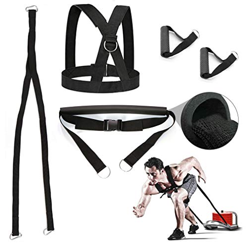 Sunsign 5-Pcs 9.8FT Weight Sled Harness Kits Sled Pulling Strap for Running Sprinting Football Ice Fishing Power Pulling Resistance Speed Agility Training